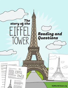 French Culture Lesson: Story of the Eiffel Tower (nonfiction, informational text) with comprehension questions and coloring sheet of the Eiffel Tower. Great for sub plans, social studies class, a unit on France, International Week, or cultural lesson for French class.