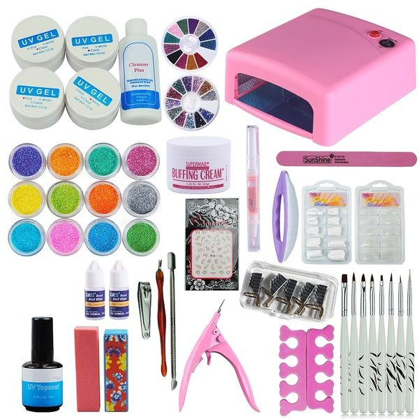 Pro 36w Uv Lamp Dryer Uv Gel Top Base Coat Primer Nail Art Kit Lampe Uv Wish Nail Art Kit Uv Gel Uv Nails Art