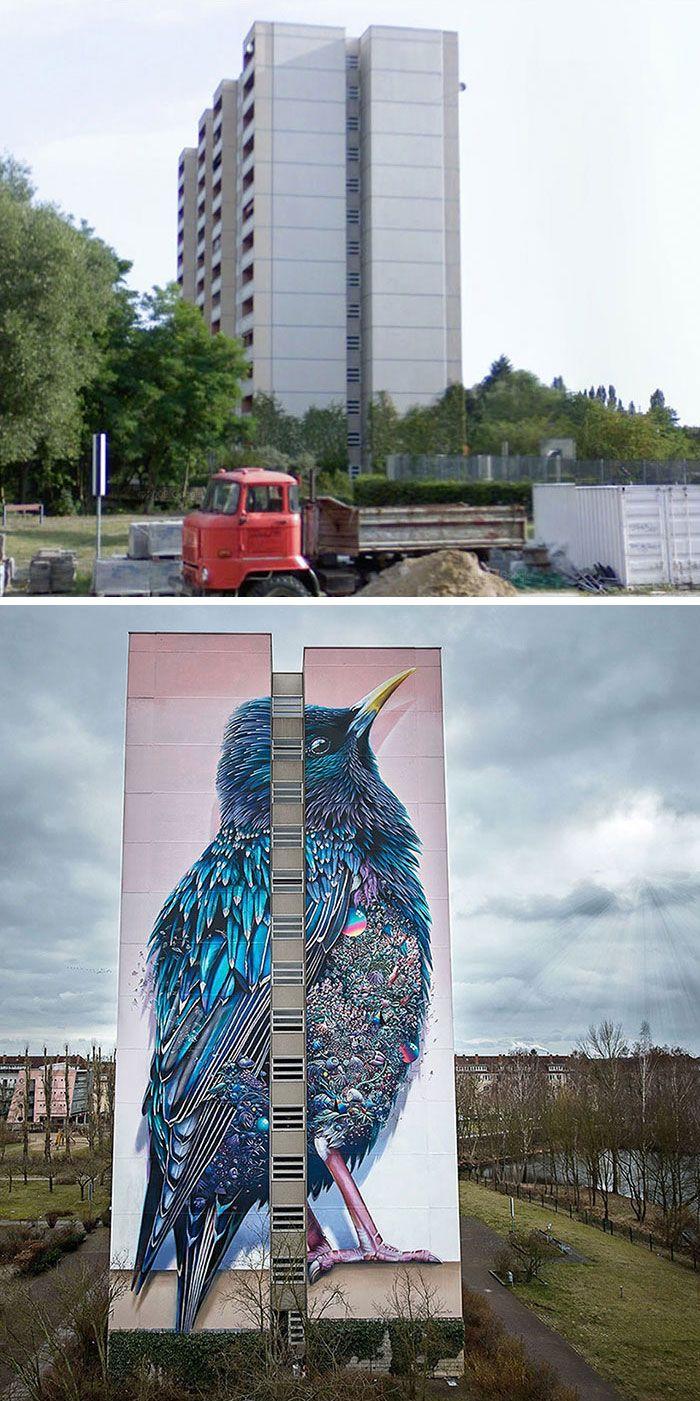 Street Art, disegno incredibile di tutto un palazzo di 14 piani