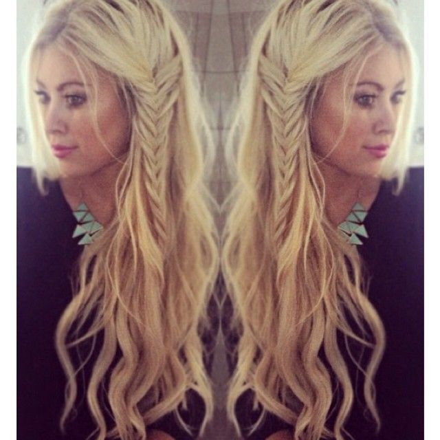 Love her hair! Beach waves with a side braid...boho hairstyle womens long hair loose waves #HairCare #BeautifulHair