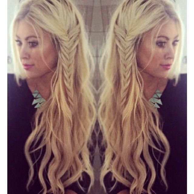 Love her hair!  Beach waves with a side braid...boho hairstyle women's long hair loose waves