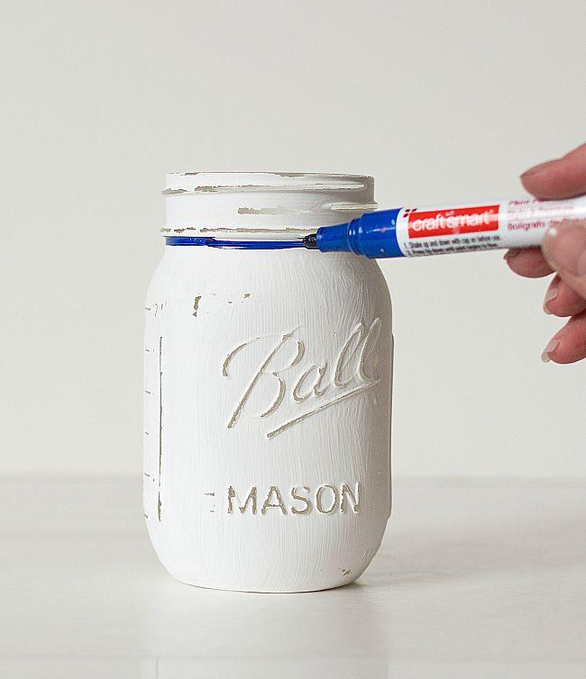 Mason Jar Craft Ideas: Baseball Uniform Mason Jar