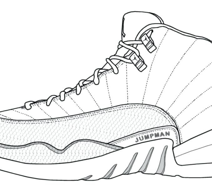 678x600 Jordans Shoe Coloring Page Shoes Drawing Shoes