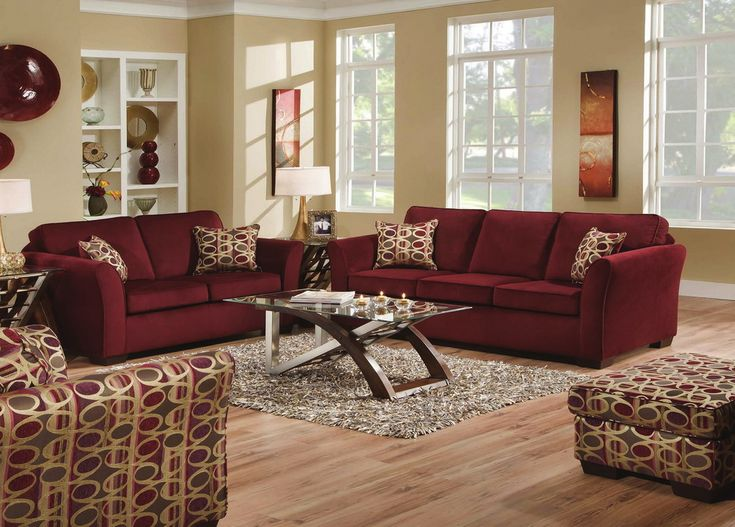 Living room ideas with burgundy sofa