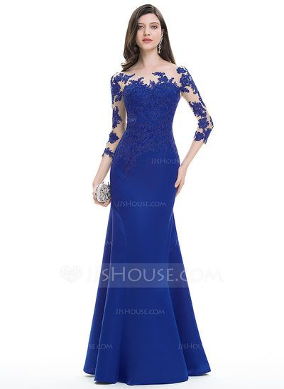 Trumpet/Mermaid Scoop Neck Floor-Length Zipper Up Covered Button Sleeves 3/4 Sleeves No Royal Blue Winter Spring Summer Fall General Plus Satin Hight:5.7ft Bust:32in Waist:24in Hips:35in US 2 / UK 6 / EU 32 Evening Dress