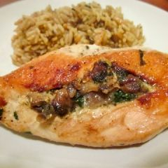 Spinach-Stuffed Chicken Breasts with Mushrooms   ***Good! Hubby loved the filling. Next time, will pound the chicken to flatten so thickness of chicken is equal throughout to assist with even cooking. JM ***
