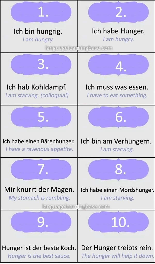 """Ways to say """"I'm Hungry"""" and """"I'm Tired"""" in German - learn German,communication,vocabulary,german,tired,hungry"""