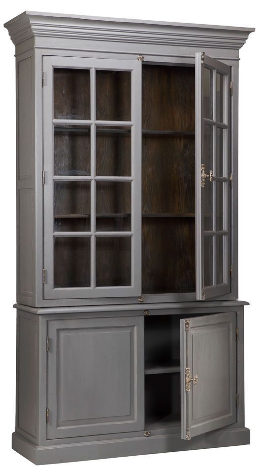 "Solid Oak Transitional Bookcase Cupboard Gray Exterior 103"" H Free Shipping New #Transitional"