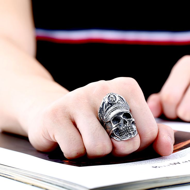 Beier 316L Stainless Steel ring Cool Officer Dictator New Designed skull ring Fashion Jewelry BR8-349