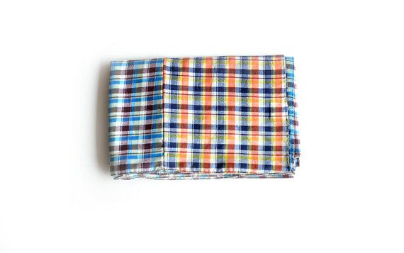 Check Pattern Cotton Scarf Men's Scarf Women's Scarf by MunaFabriC $11.00 - Shipping Worldwide! [Click Photo for Details]