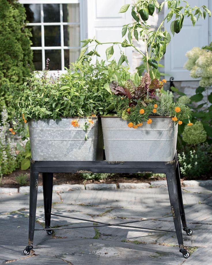 Wash Tub Planter Elevated Garden | Metal Wash Tub Planter