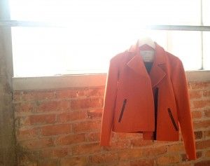 Huffer Orange Zippy Pea Coat - Bloggers Club