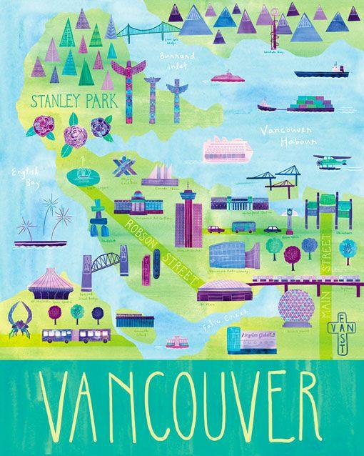 Vancouver: Vancouver Maps, Illustrations Maps, Art Prints, Colors Palettes, Travel Posters, Digital Prints, Maps Illustrations, British Columbia, Marisa Seguin