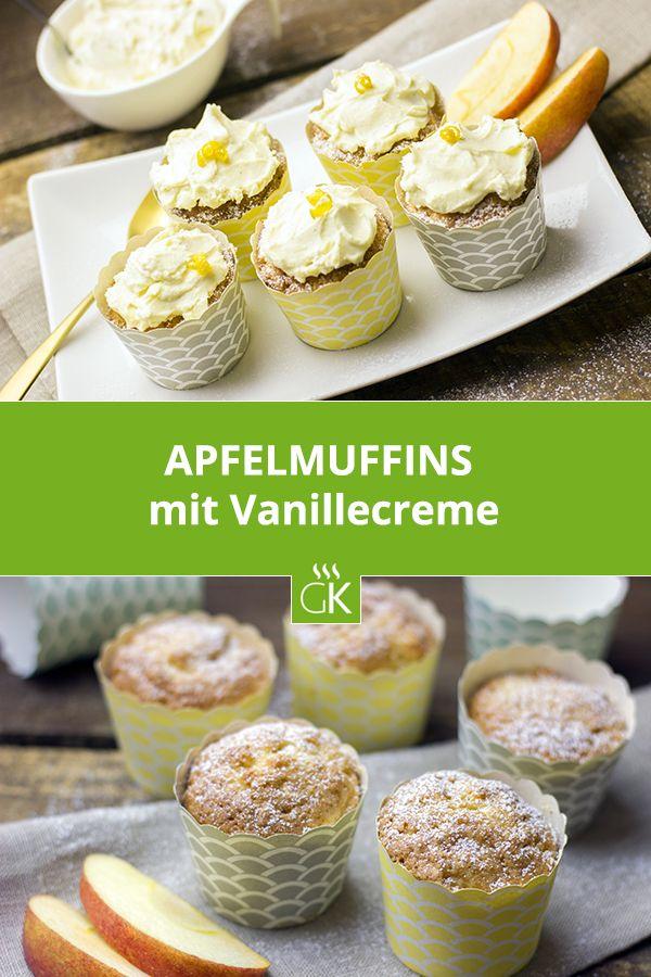 Wenn man Äpfel richtig lagert, bleiben sie frisch und knackig und man kann sie auch noch nach Monaten in der Küche verwenden - zum Beispiel für köstliche Apfelmuffins. #muffins #apfelmuffins #apfel #rezept #backen #gutekueche #dessert