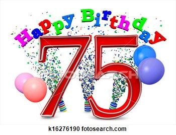 Stock Illustration  Happy 75th Birthday Fotosearch Search Clipart Clipart