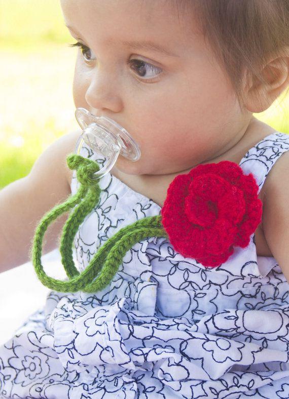 Girl Pacifier Clip, Crochet Flower Pacifier Clip, Baby Red Flower Pacifier Holder, pccrochet02 on Etsy, $9.50