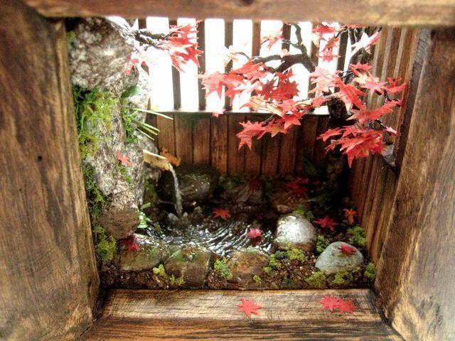 ~紅葉の岩風呂~完成♪ 和風ドールハウス ミニチュア ジオラマ インテリア雑貨 露天風呂の画像 バンビーニの部屋