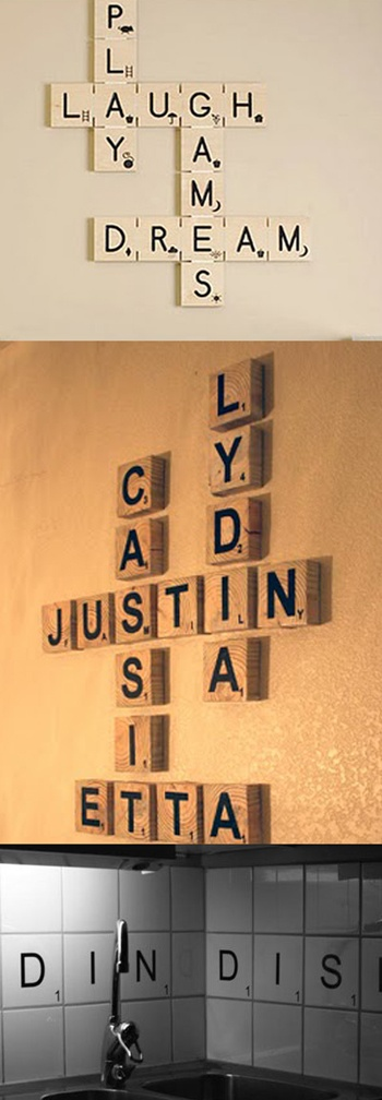 DIY Scrabble Wall Letters, made with wood. (can even do with tiles in kitchen) These would be great in family room or in a kid's room/nursery. You can spell anything you want and easy to make. Do a quote, names, fun words...click link to make.