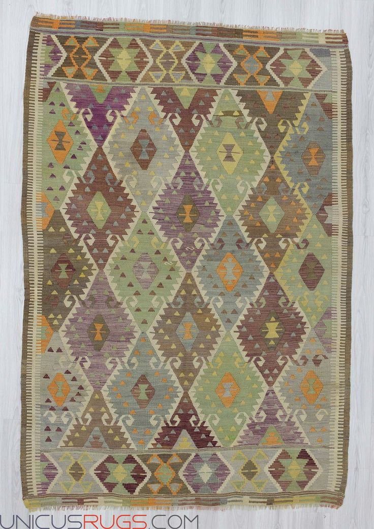 "Vintage kilim rug from Antalya region of Turkey.In very good condition.Approximately 50-60 years old Width: 5' 7"" - Length: 8' 2""  Colorful Kilims"