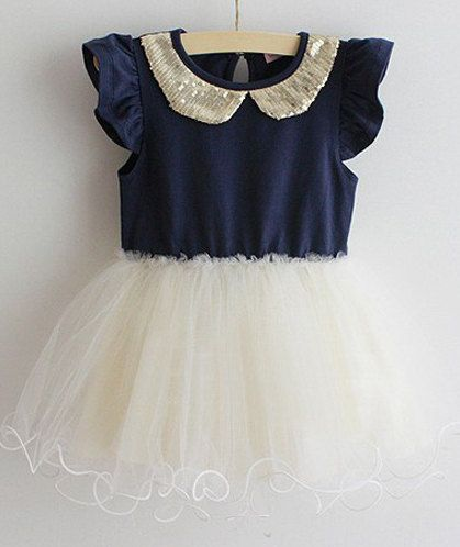 Toddler Girls Dress // Glittery Navy Party Cotton Tutu Girls Princess Dress Sparkling Sequined Peter Pan Collar Christmas Childrens Dress on Etsy, $34.99