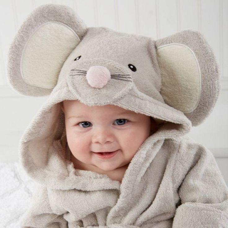 Peignoir bébé 100% coton gris souris