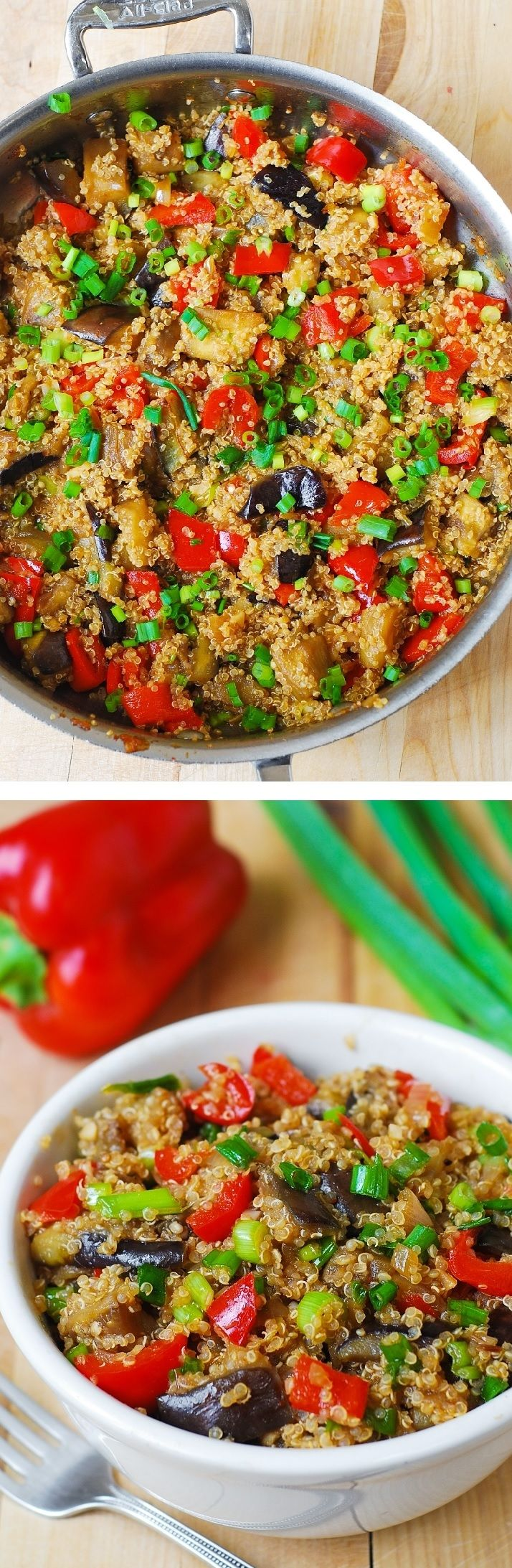 Stir-fried spicy Asian eggplant, with quinoa and veggies.  Healthy ingredients, gluten free, vegetarian, low carb, low fat recipe. Delicious! And, it takes just 30 minutes to make!