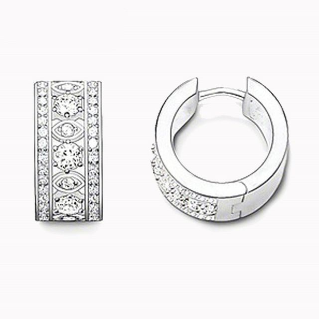 Best Deals $7.32, Buy Thomas Style Silver Color Round Creole Hoop Earrings Trendy Cubic Zircon Women Jewelry Huarache Anting Wanita Cantik Bijou