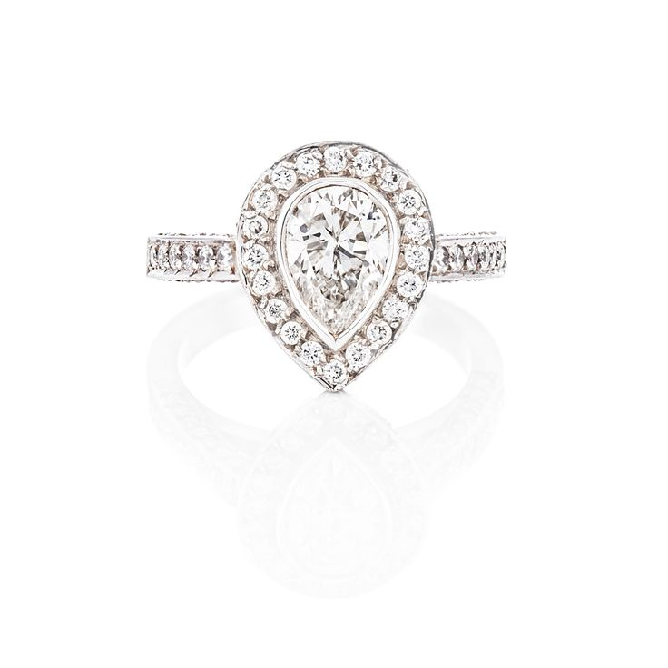 Pear Shaped Halo Set Ring 18 ct White Gold