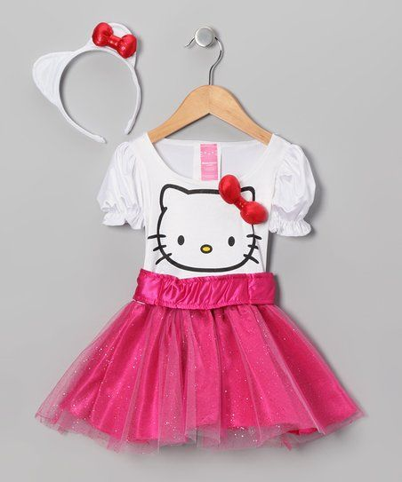 Little kitties are lucky: they're born with their own darling outfit already on. But now, thanks to this one-piece Hello Kitty dress, girls can finally look just as purrfect. Boasting a kitty-eared headband and a big bow embellishment on the bodice, this outfit will have any cute kitten feline fine.
