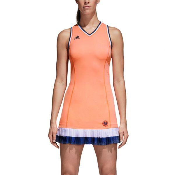 5d06ded7d1 Aadidas Women`s Roland Garros Tennis Dress Chalk Coral #short #2018 ...