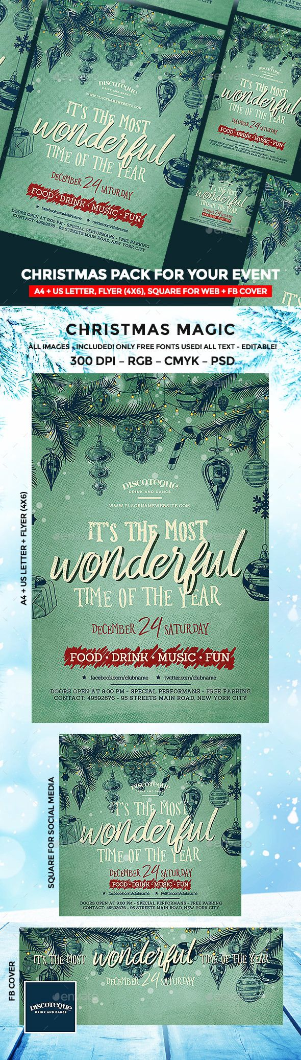 73 best Party design images on Pinterest | Christmas flyer, Event ...