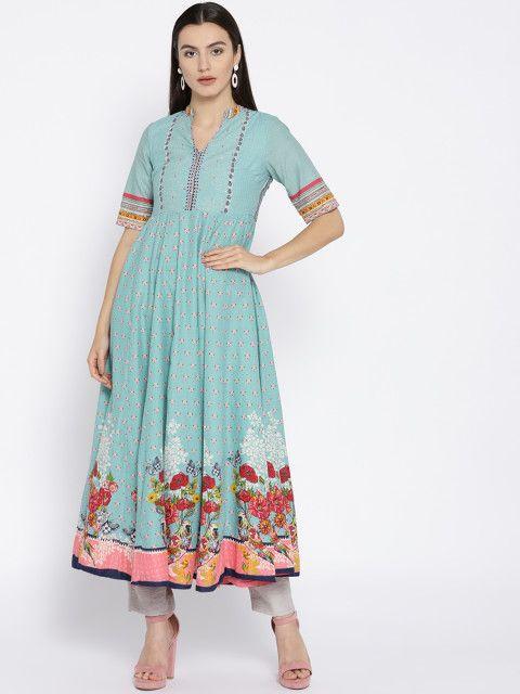 0364c0b1ed5 Biba Women Blue   Pink Printed Anarkali Kurta - Kurtas for Women 6844748