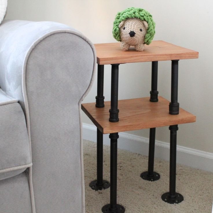 Industrial pipe end tables! So versatile--you would never think something so rustic and industrial would fit so perfectly into something softer like a nursery--but it does! I'm thinking bathrooms, living rooms, bedroom end tables, entryway tables, etc!