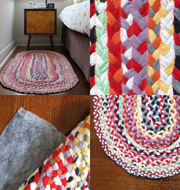 Braided tee-short rug  tutorial. Really well done tutorial, I want to make a rug now!