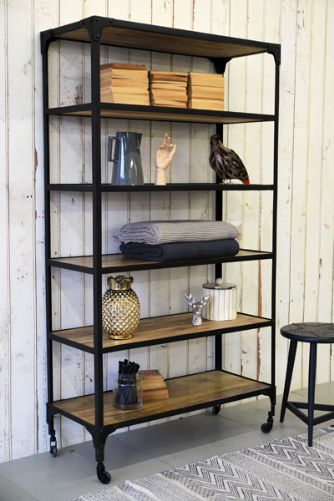 Industrial Shelving Unit - I have one similar in the bedroom. I keep being tempted to paint the black metal copper