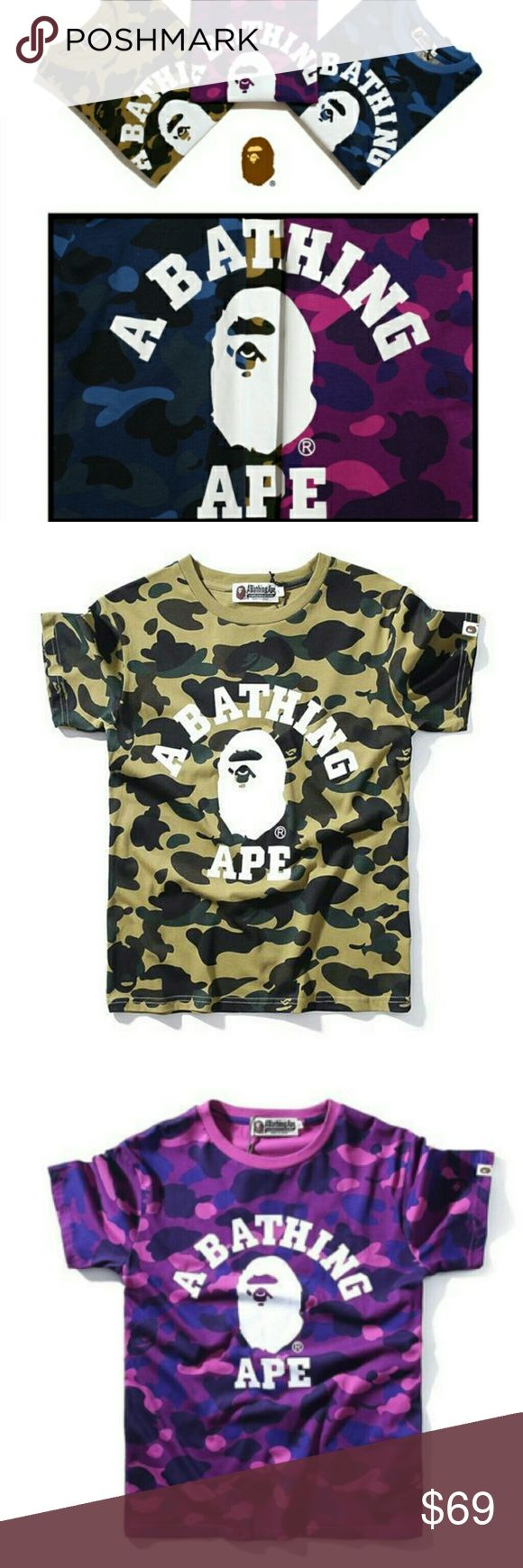Ape Bape Shirt Bathing Camo  Tee Head Material: Cotton  Shipping: 100% Free WorldWide Shipping. Please, contact me, if you want buy my item.  Tags:Supreme Hoodie Logo Box Size Hooded Sweatshirt Black Xl S L Tee Black White Gold Guess ASAP Michael Jackson Palace Ferg Skateboards Undercover Shirt Fw16 Seven Samurai Anatomy Comme Des Garcons Cdg Play Heart Hanes Camo Givenchy Rottweiler Shark Elephant a bathing ape bape the north face rare kanye west yeezy air max 98 flex off white stone island…