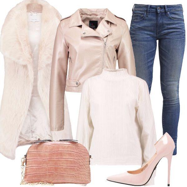 Outfit+perfetto+per+la+primavera,+ma+che+possiamo+indossare+anche+in+questi+giorni+freddi+aggiungendo+lo+smanicato+light+grey+al+nostro+look+composto+da+jeans+skinny+fit,+camicetta+offwhite+con+colletto+alla+coreana,+giacca+in+finta+pelle+pink,+décolleté+con+tacco+a+spillo+light+pink+e+pochette+pink+con+tracolla.+Bello+da+indossare+di+giorno+o+anche+la+sera+per+un+party.