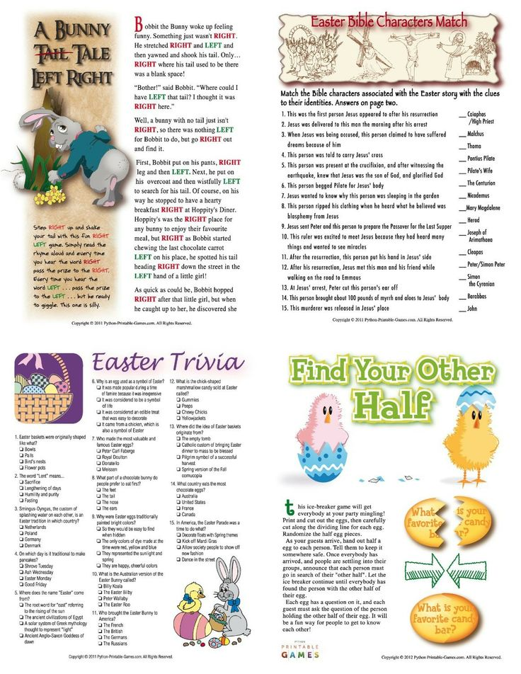 Adult easter word games