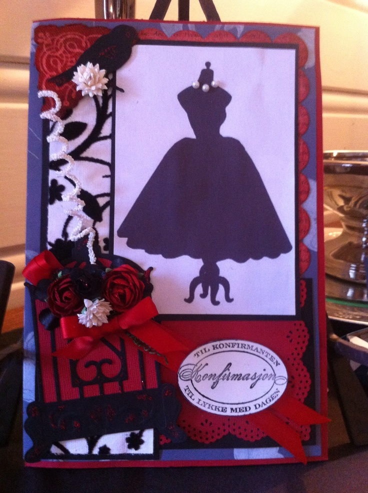 Red and black silhouette card feminine. Made by # sirgro.