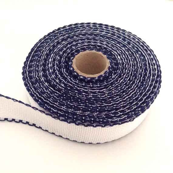 3 cm wide AIDA  BAND 16 Count blue border. White Cross stitch fabric with blue border per 50 cm. Made in Europe. Cotton fabric.