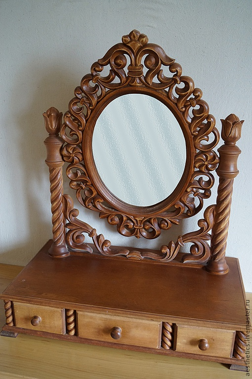#Russia, #carving on wood, #table for make-up, surprisingly, #mirror, manual work  #Russian carver #Vladimir Kolesyankin http://www.livemaster.ru/aesthetics