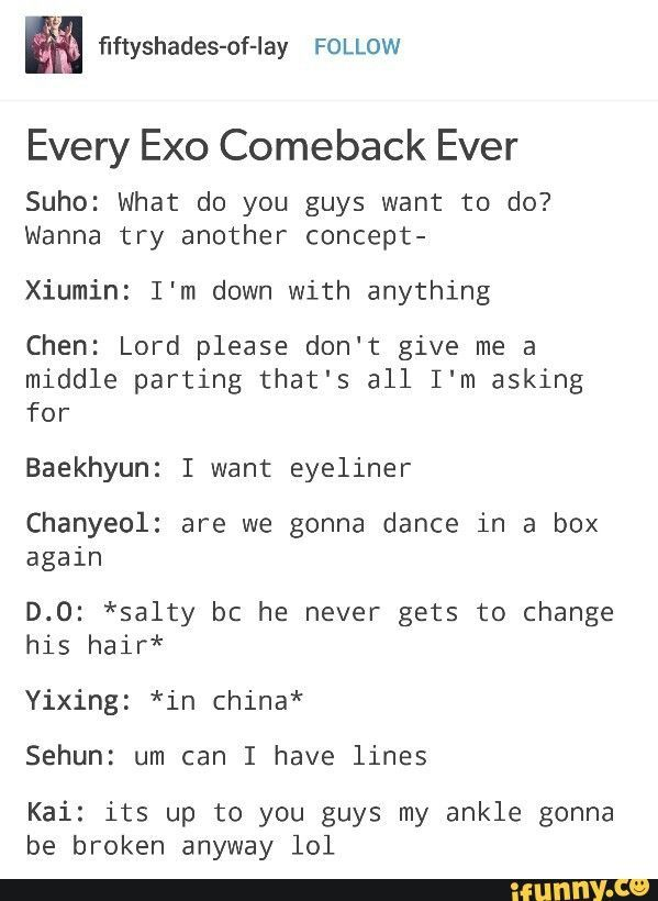 Naah I Think D O Actually Doesn T Want To Change His Hair And That S Why It Change Doesnt Hair Naah Exo Memes Exo Facts Exo