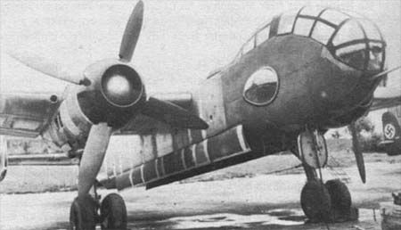 The sole Ju 288A prototype (Ju 288 V5) with Junkers Jumo 222 engines and ducted spinners.  The Junkers Ju 288, originally known within the Junkers as the EF 074, was a German bomber project designed during World War II, but which only ever flew in prototype form. The first of 22 development aircraft flew on 29 November 1940.