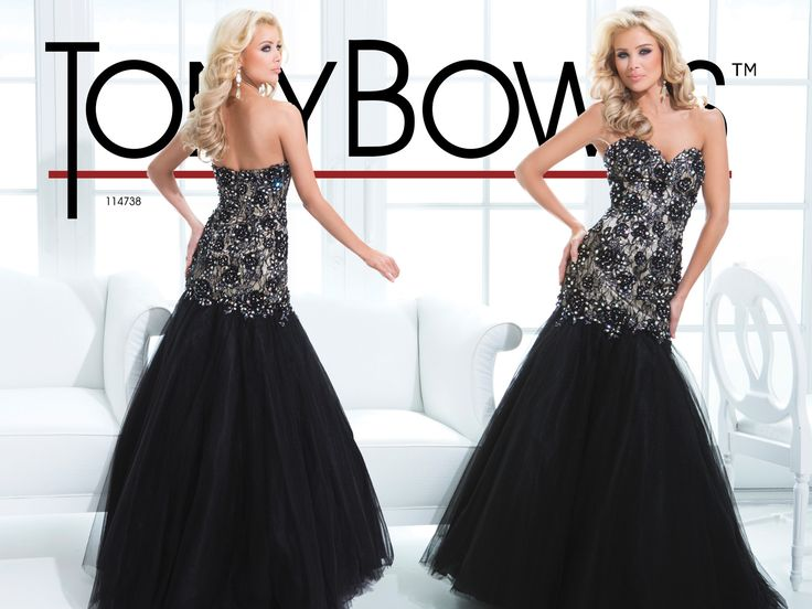 Prom Dress 2014 Collection- Strapless gown with lace appliqués on bodice with dropped waist and full illusion skirt.  Removable straps includedSizes: 0-16