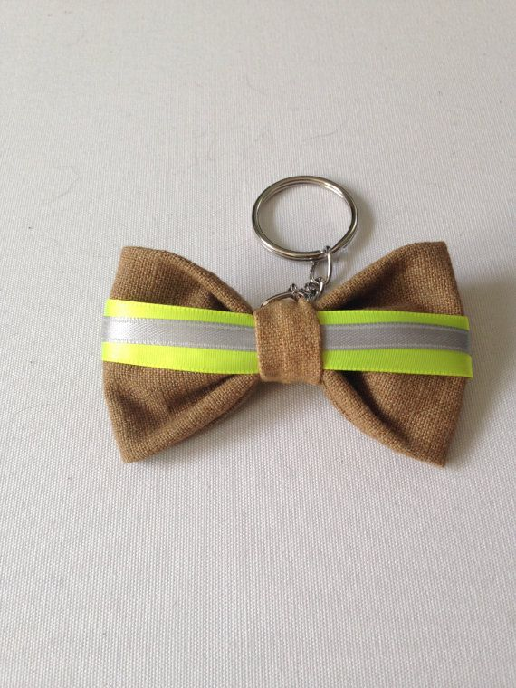 Turnout Gear Bow Keychain by Firefightersgirls on Etsy