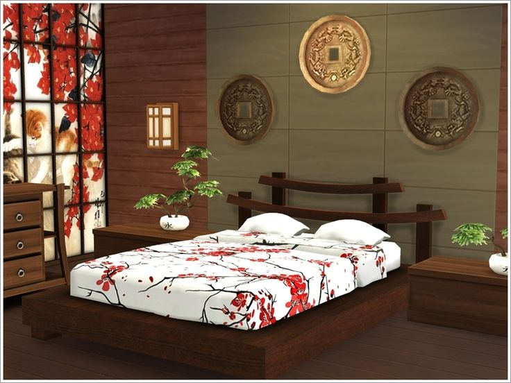 Set of bedroom furniture in Asian style. This set will be an indispensable Addendum for your oriental home.  Found in TSR Category 'Sims 4 Sets'