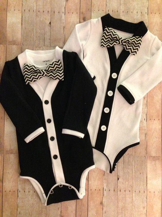 Twin Baby Tuxedo Cardigan One Piece: Black and White Set with Interchangeable Tie Shirts and Bow Ties