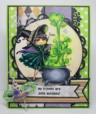 """Card featuring """"My best friends are witches"""" by Kraftin' Kimmie Stamps. Designed by Deborah Deruyck. www.kraftinkimmiestamps.com"""