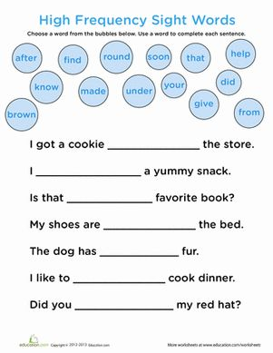 Printables 1st Grade Sight Word Worksheets 1000 ideas about sight word worksheets on pinterest first grade handwriting words complete the sentence common worksheet