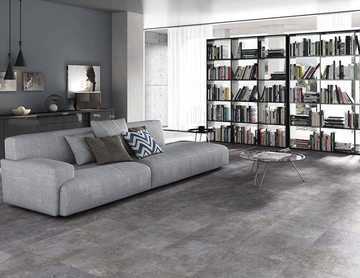Tile that looks like concrete for dining room and living room.
